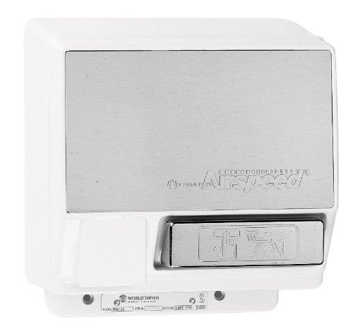 (World Dryer Airspeed WA235-002 Aluminum White Push Button Hand Dryer - 230V (50Hz))