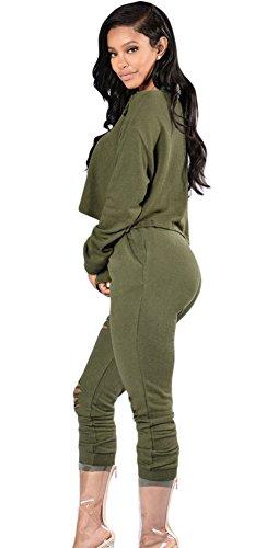 EOZY Femme Romper Vert Manche Longue Casual Combinaisons Jumpsuit Pantalon