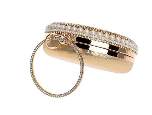 Nuptiale Mariage Cadeau Sac Diamant Sac Gold Circulaire Perlé Sac À Perle Party à De Pour Soirée Clubs Dames Main Prom Main Épaule Glitter Pochette Femmes g5wqaUv