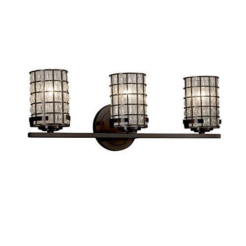 Wire Glass - Atlas 3-Light Bath Bar - Cylinder with Flat Rim Wire Cage and Blown Glass Shade in Grid with Clear Bubbles - Dark Bronze Finish (Glass Three Light Bath)