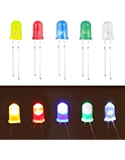 (100 Pcs) MCIGICM 5mm LED Light Diodes, Red/Green/Yellow/Blue/White LED Circuit Assorted Kit for Science Project Experiment