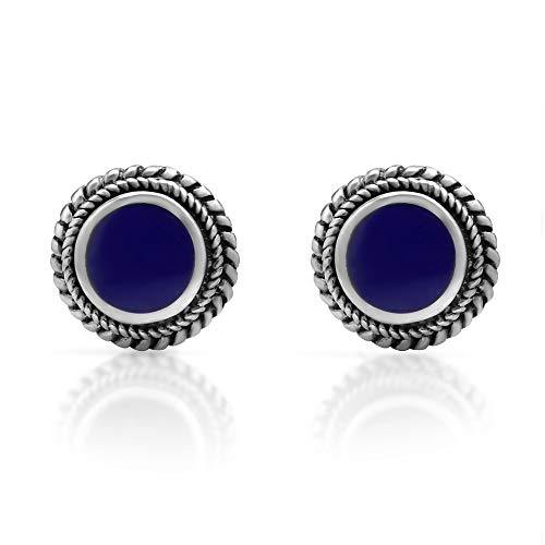 925 Sterling Silver Post Stud Earrings - Chuvora Jewelry - Bali Inspired Braided Blue Stone
