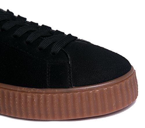 J. Sneaker Creeper Della Piattaforma Di Adams - Scarpa Allacciata Vegana Alla Moda - Cute Flat In Finta Pelle Scamosciata - Vince Di Black Gum