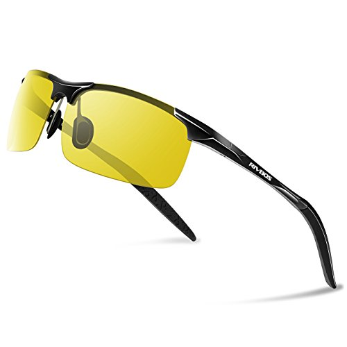 RIVBOS Polarized Sports Sunglasse for Men Women, Glasses for Cycling Running Fishing Golf Baseball Fashion Metal Frames RBS092 (Black Night Version Lens)