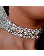 YIFEIJIAO, Kvinnor kristall strass choker halsband full diamant krage gotisk bröllopspresent – silver