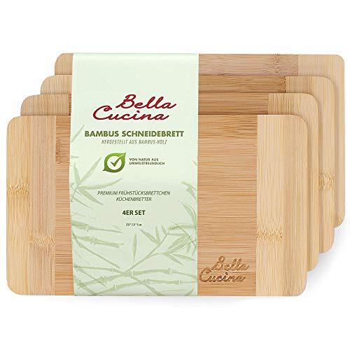 BELLA CUCINA Premium Frühstücksbrettchen | Bambus-Holz Küchenbrett | Frühstücksbretter | Schnittfest (4 Brettchen(klein…