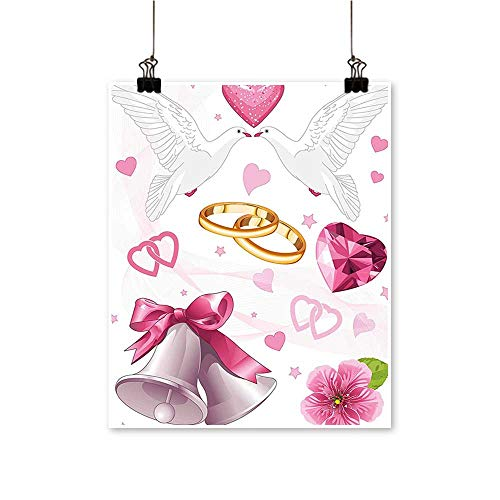 Art Picture Colorful Canvas Print Wedding Themed Artwork Invitation Announcement Hearts Rings Birds Pink White Gold Paintings for Living Room,24