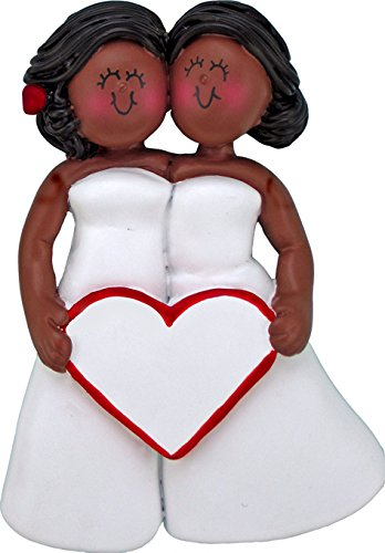 Same Sex Wedding Female Both African-American Personalized Christmas Tree Ornament by BlessedHippie