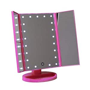 Makeup Mirror With 2X Side Mirrors, Stand And Led Light - Fuschia