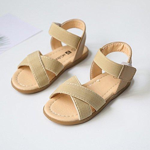 Scothen Niñas strappy sandalias zapatos de verano zapatos casuales zapatos de las sandalias de playa sandalias sandalias romanas los niños zapatos princesa del flip-flop los zapatos la bailarina Beige