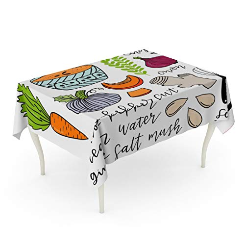 Tarolo Rectangle Tablecloth 60 x 102 Inch Baking Doodle Step by Pumpkin Soup Recipe Vintage Cooking Book Biscuits Cafe Collection Dish Table Cloth