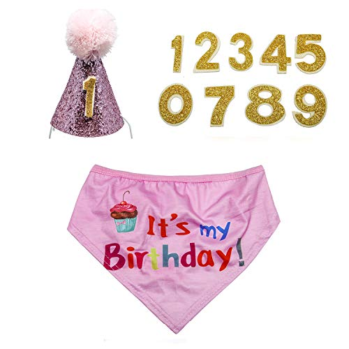 KEVIN-KW Dog Birthday Boy Bandana Scarfs-Crown Dog Birthday Hat with 0-9 Figures Charms Grooming Accessories Pack of 1 and Happy Birthday Award Badge (Pink hat, Pink Bandana) ()