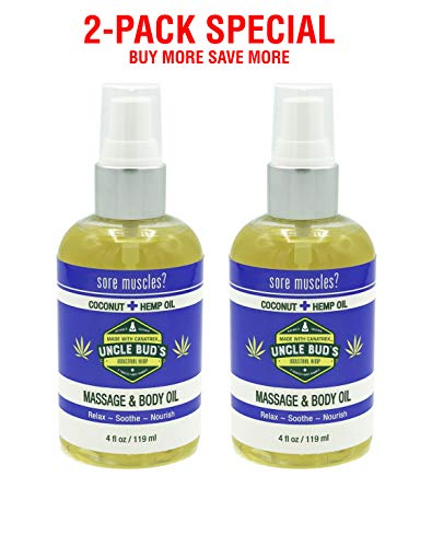 Uncle Bud's 2-Pack Special - Massage Oil Coconut Hemp - for Relaxing Massage,Body oil,Moisturizing Skin and Sore Muscle Relief