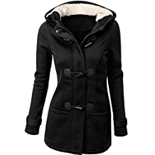 URqueen Women's Hooded Horn Button Wool Pea Coat Jacket
