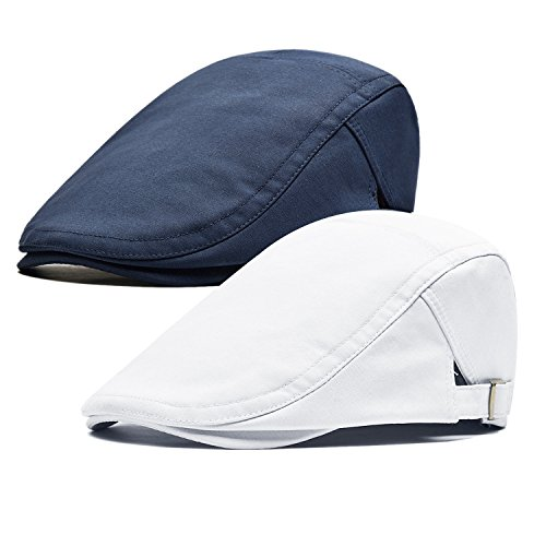 Qossi 2 Pack Men's Cotton Flat Cap Ivy Gatsby Newsboy Hunting Driving Hat