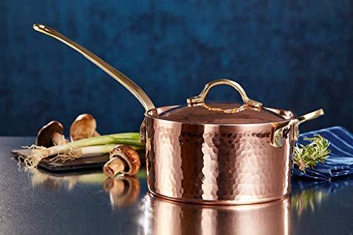 New DEMMEX 1.2mm Thick Hammered Copper Sugar Sauce Zabaglione Pan with Helper Handle, (1.7-Quart)