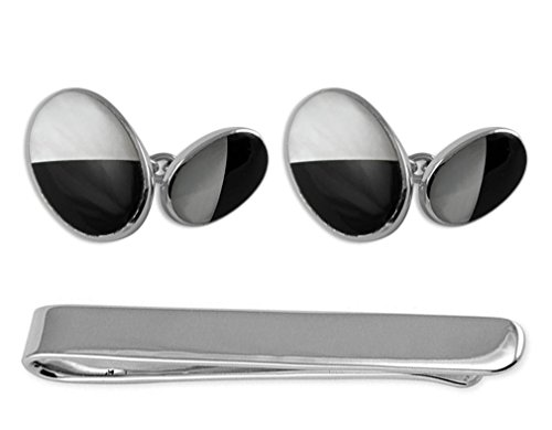 Sterling onyx Set mother double sided Clip Cufflinks Box of pearl Tie amp; silver pwxrqaUp
