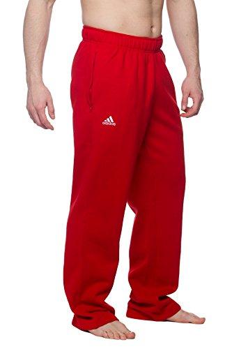 Adidas Men's wide leg fleece sweatpants with zip pockets, Red S