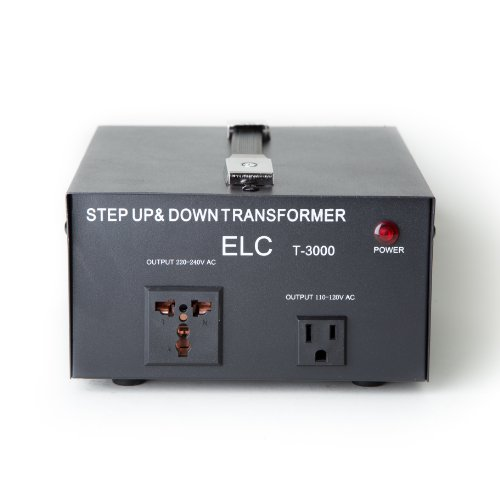 ELC T-3000 3000-Watt Voltage Converter Transformer - Step Up/Down - 110V/220V - Circuit Breaker Protection ()