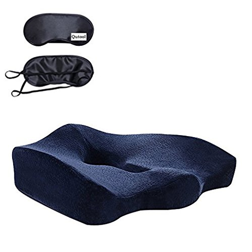 Orthopedic Memory Foam Seat Cushion for Lower Back Sciatica Coccyx Hemorrhoid Pain Relief Hip Shaping Larger Non-Slip Cover Pads for Car Seat Office Chair Airplane Travel Wheelchair Qutool (Blue)