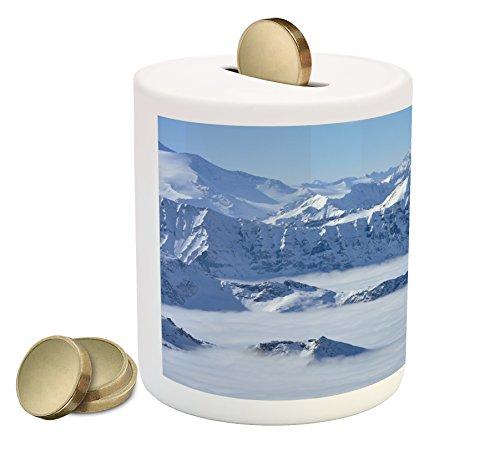 (Ambesonne Mountain Piggy Bank, Fantasy Dream Land Over The Austrian Alps Summit Climate Skiing Snowfall Fir Theme, Printed Ceramic Coin Bank Money Box for Cash Saving, White)
