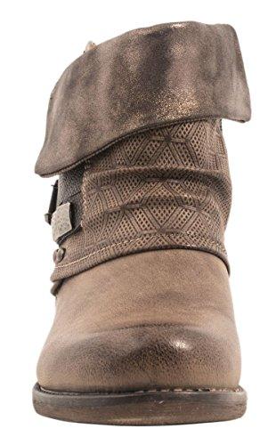 De Elara Forrado Biker Boots Metallic Aspecto Piel Remaches Hebillas Mujer Prints Khaki Botines wCwqPrF0