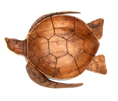 Hand Carved Mahogany Wood Nautical Turtle Bowl