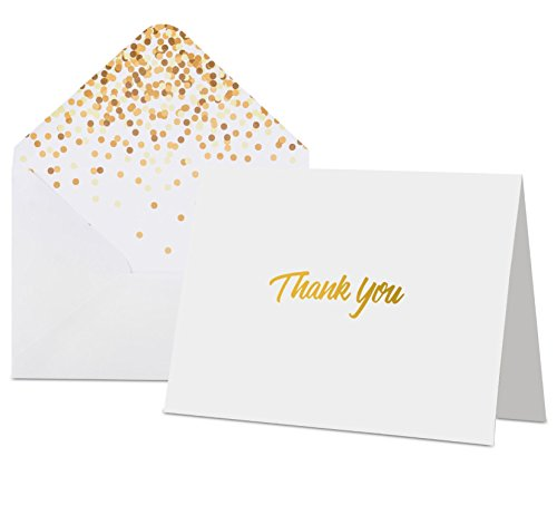 "100 Thank you cards with Envelopes - White with Gold Foil Embossed Lettering, Designer Envelopes, Perfect for Weddings, Birthdays, Bar Mitzvahs, Bridal Showers,Baby Showers,Business, 5.75"" X 4.1"""