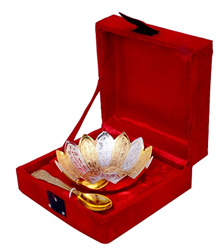 "Anand Crafts Gold & Silver Plated Brass Lotus Flower Shaped Bowl 4"" Diameter with Spoon"