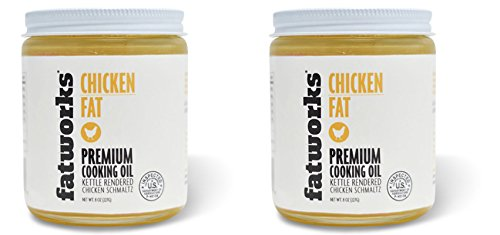 100% Organic Chicken Fat (Schmaltz), Free Range, Kettle Rendered, 8 Oz (2 Pack)