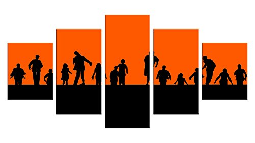 Zombie Apocalypse Canvas Wall Decor - 5 Pieces Appreciation Wall Art - Oil Painting - Unframed - Stuff Birthday Party Gift - Halloween Bathroom Aquarium Themed Decorations (Plants V Zombies Halloween Costumes)
