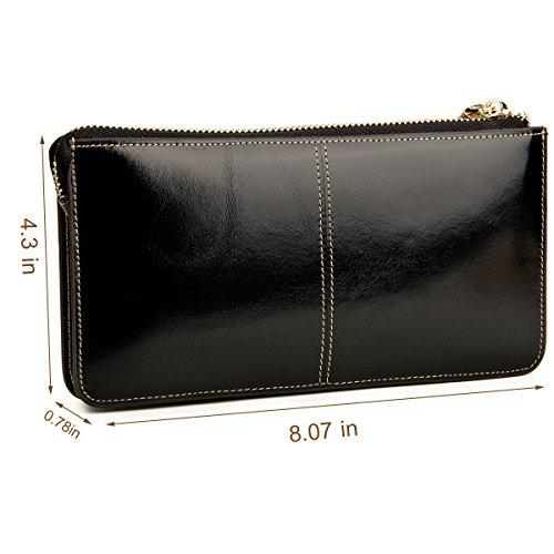 Lecxci, monedero largo de cuero real para mujer, billetera con correa para la muñeca para tarjetas de crédito, teléfono inteligente, dinero en efectivo. negro