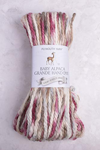 Plymouth - Baby Alpaca Grande Hand Dye Knitting Yarn (Cream/Brown/Maroon # 39)