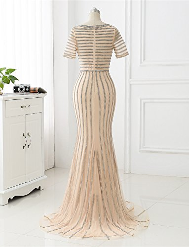 Erosebridal Kleider Perlen Abendkleider Formale Champagner Lange Party Meerjungfrau Tüll Prqx4PZ