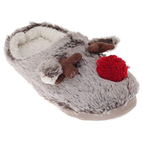 Fleece with Red Slippers Ladies Womens Rubber Sole Lined Beige Brown SlumberzzZ Reindeer Yn1PE4wwq