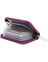 Genuine Leather Credit Card Holder Zipper Wallet With 26 Card Slots