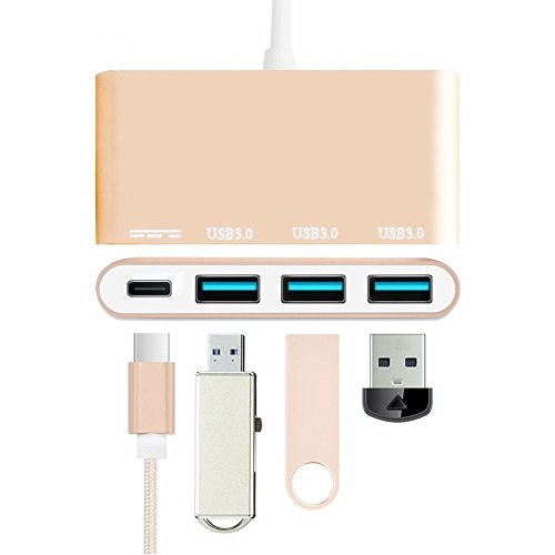 """Price comparison product image Multi-port USB-C Adapter for MacBook Pro inch , elecfan 3.0 Ports Type C USB Extension Hub for Apple MacBook 12"""", MacBook Pro 13"""" 15"""" (2016, 2017), Google Chromebook, HP Spectre and more - Gold"""