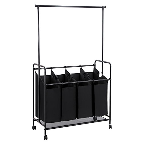 SONGMICS 4-bag Rolling Laundry Sorter with Hanging Bar Heavy-duty Laundry Cart Hamper with 4 Wheels Larger Bags