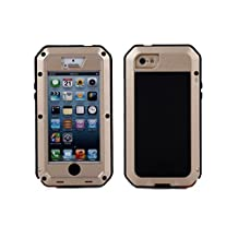 R&MAO-iPhone 5C Case, Extreme Waterproof/Shockproof Dust/Dirt Proof Aluminum Metal Gorilla Glass Protection Case Cover Military Heavy Duty Protection Cover Case for Apple iPhone 5C(Gold)
