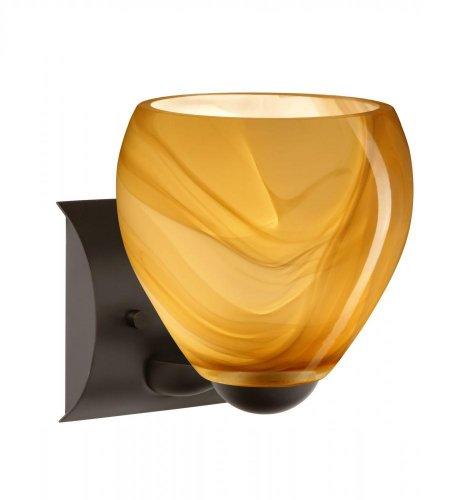 Besa Lighting 1WZ-4122HN-BR 1X60W A19 Bolla Wall Sconce with Honey Glass, Bronze ()