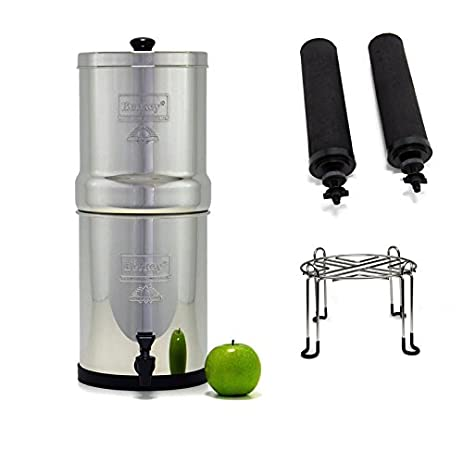 Travel Berkey Stainless Steel Water Filtration System with 2 Black