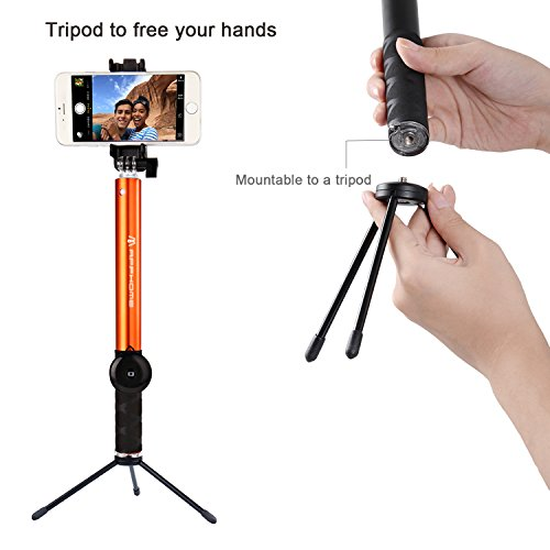selfie stick apphome aluminum extendable monopod with metal tripod stand and bluetooth remote. Black Bedroom Furniture Sets. Home Design Ideas