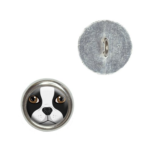 Boston Terrier Face - Dog Pet Metal Craft Sewing Novelty Buttons - Set of 4 (Terrier Button)