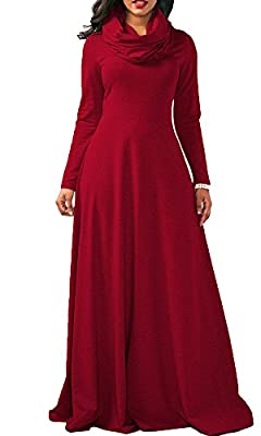 Boloren Women Full Sleeve Cowl Neck Plain Color Thicken Loose Casual Long Maxi Dress