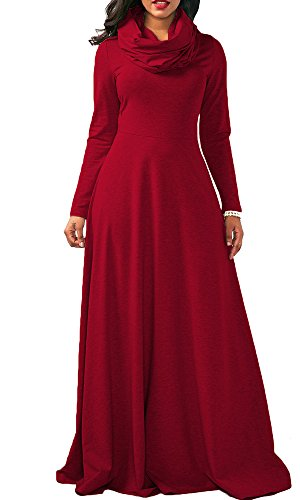 Boloren Women Full Sleeve Cowl Neck Plain Color Thicken Loose Casual Long Maxi Dress