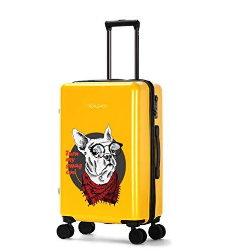 SfHx ユニバーサルホイールトロリーケースラゲッジスモールフレッシュスーツケース (Color : Yellow, Size : S) S Yellow B07MQ9VDK3