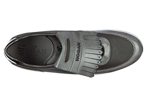 Hogan zapatos zapatillas de deporte hombres en piel nuevo h221 dress gris