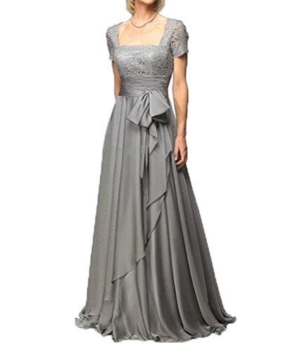 CCHAPPINESS Women's Floor Length Short Sleeve Mother Of The Bride Dresses Sliver Grey US 16