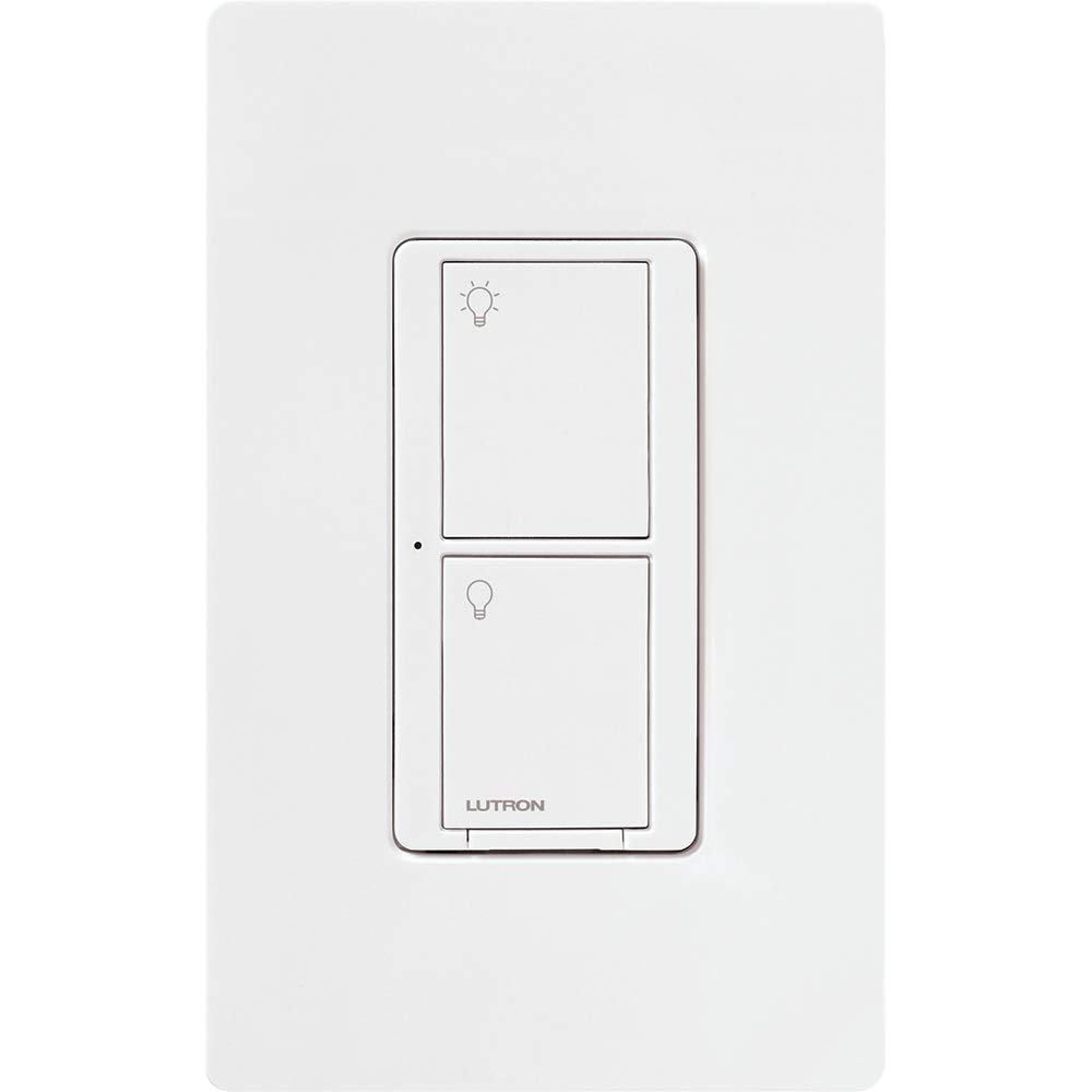 Lutron Caseta Wireless Smart Lighting Switch for All Bulb Types and Fans, with Wallplate, 5A LED, 600W Incandescent/Halogen, PDW-5ANS-WH-A, White