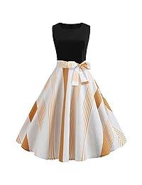 Cardigo Womens Vintage 1950s Retro Sleeveless O Neck Print Evening Party Dress